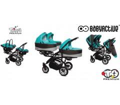 BabyActive - Carrinho trigémeos 3 in 1 Trippy Premium Tropical Green