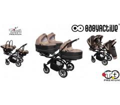 BabyActive - Carrinho trigémeos 3 in 1 Trippy Premium Beige