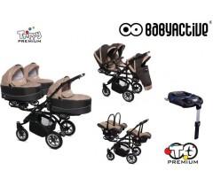 BabyActive - Carrinho trigémeos 4 in 1 Trippy Premium Beige