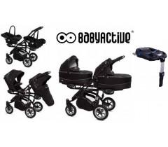 BabyActive - Carrinho de gémeos 4 in 1 Twinny Premium Preto
