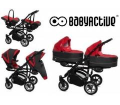 BabyActive - Carrinho de gémeos 3 in 1 Twinny Premium Vermelho