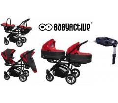 BabyActive - Carrinho de gémeos 4 in 1 Twinny Premium Vermelho