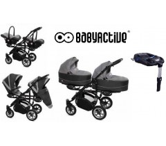 BabyActive - Carrinho de gémeos 4 in 1 Twinny Premium Cinza