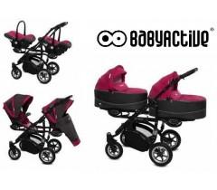 BabyActive - Carrinho de gémeos 3 in 1 Twinny Premium Ameixa