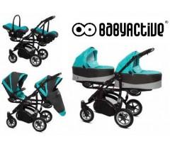BabyActive - Carrinho de gémeos 3 in 1 Twinny Premium Azul