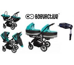 BabyActive - Carrinho de gémeos 4 in 1 Twinny Premium Azul