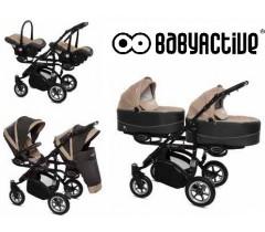BabyActive - Carrinho de gémeos 3 in 1 Twinny Premium Bege