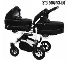 BabyActive - Carrinho de gémeos 2 in 1 Twinny Premium Preto