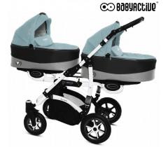 BabyActive - Carrinho de gémeos 2 in 1 Twinny Premium Azul