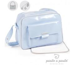 Pasito a Pasito - BOLSA CANASTLLA CHAROL AZUL TWEED BABY