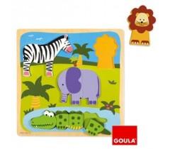 Goula - Puzzle animais da selva, 10 peças