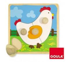 Goula - Puzzle, galinha, 4 peças