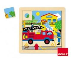 Goula - Puzzle, carro dos bombeiros, 16 peças
