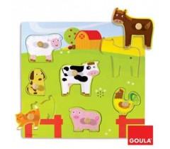 Goula - Puzzle, animais na quinta com som, 7 peças