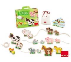 Goula - Jogo de enlaçar, animais mamãs e bebés, 16 peças