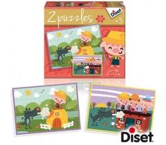 Diset - Os 3 porquinhos, 2 puzzles, 20 peças