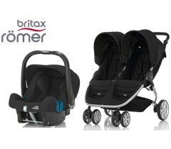 Duo Britax B-Agile Double + Römer Baby Safe SHR II Cosmos Black