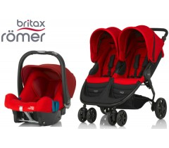 Duo Britax B-Agile Double + Römer Baby Safe SHR II Flame Red