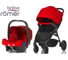 Duo Britax B-Agile 4 Plus + Römer Baby Safe SHR II Flame Red