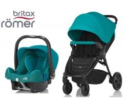 Duo Britax B-Agile 4 Plus + Römer Baby Safe SHR II Lagoon Green
