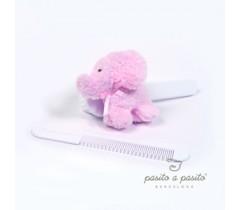 Pasito a Pasito - Conjunto de escova e pente Elefante rosa bebe