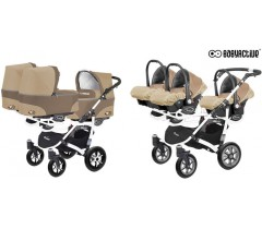 BabyActive - Carrinho trigémeos 3 in 1 Trippy Classic Cappuccino Beige