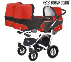 BabyActive - Carrinho trigémeos 2 in 1 Trippy Classic Mexican Red