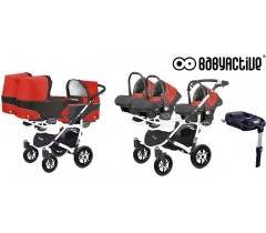 BabyActive - Carrinho trigémeos 4 in 1 Trippy Classic Mexican Red