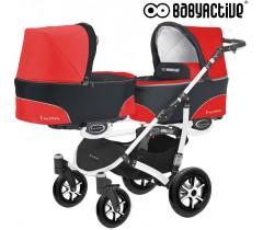 BabyActive - Carrinho de gémeos 2 in 1 Twinny Classic Vermelho