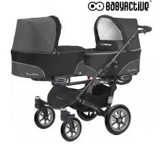 BabyActive - Carrinho de gémeos 2 in 1 Twinny Classic Preto