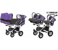 BabyActive - Carrinho trigémeos 3 in 1 Trippy Classic Ultraviolet