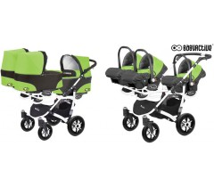 BabyActive - Carrinho trigémeos 3 in 1 Trippy Classic Green Apple