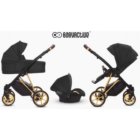 BabyActive - Carrinho de bebé 3 in 1 Musse Ultra Black