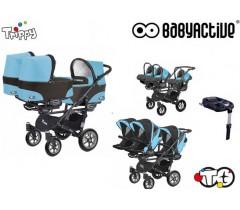 BabyActive - Carrinho trigémeos 4 in 1 Trippy Classic City Blue