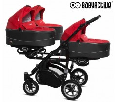 BabyActive - Carrinho trigémeos 2 in 1 Trippy Premium Red