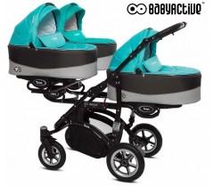 BabyActive - Carrinho trigémeos 2 in 1 Trippy Premium Tropical Green