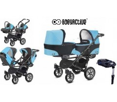 BabyActive - Carrinho de gémeos 4 in 1 Twinny Classic Azul