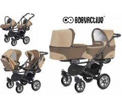 BabyActive - Carrinho de gémeos 3 in 1 Twinny Classic Bege