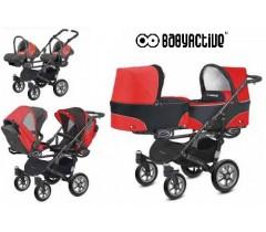 BabyActive - Carrinho de gémeos 3 in 1 Twinny Classic Vermelho