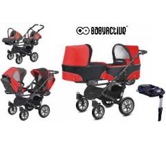 BabyActive - Carrinho de gémeos 4 in 1 Twinny Classic Vermelho