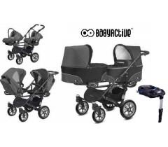 BabyActive - Carrinho de gémeos 4 in 1 Twinny Classic Preto