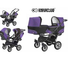 BabyActive - Carrinho de gémeos 3 in 1 Twinny Classic Roxo