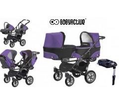 BabyActive - Carrinho de gémeos 4 in 1 Twinny Classic Roxo