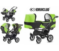 BabyActive - Carrinho de gémeos 3 in 1 Twinny Classic Verde