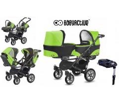 BabyActive - Carrinho de gémeos 4 in 1 Twinny Classic Verde