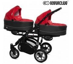 BabyActive - Carrinho de gémeos 2 in 1 Twinny Premium Vermelho