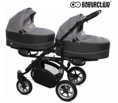 BabyActive - Carrinho de gémeos 2 in 1 Twinny Premium Cinza