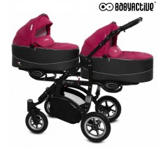 BabyActive - Carrinho de gémeos 2 in 1 Twinny Premium Ameixa
